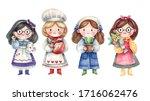 Set Of Cute Girls Characters...