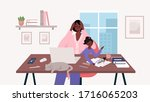 busy stressed mother sits with... | Shutterstock .eps vector #1716065203