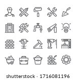 construction tool line icon... | Shutterstock .eps vector #1716081196