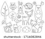 vector line set of woodland... | Shutterstock .eps vector #1716082846