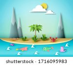amazing art scene with paper... | Shutterstock .eps vector #1716095983
