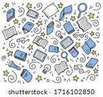 hand drawn set of book doodle... | Shutterstock .eps vector #1716102850