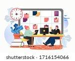 kanban board management  vector ... | Shutterstock .eps vector #1716154066