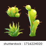 cute green cactuses with orange ...