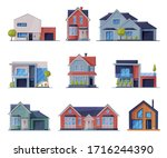 cottages facades collection ...   Shutterstock .eps vector #1716244390