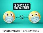 social distancing emoji vector... | Shutterstock .eps vector #1716246019