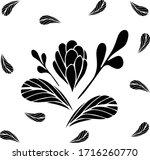 flower and leaves. postcard.... | Shutterstock .eps vector #1716260770