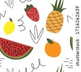 colorful fruits vector seamless ... | Shutterstock .eps vector #1716262639