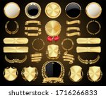 collection of golden badges... | Shutterstock . vector #1716266833