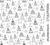 vector seamless pattern of cute ... | Shutterstock .eps vector #1716295006