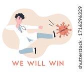 doctor kicking virus. real hero....   Shutterstock .eps vector #1716296329