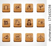 Travel and Vacation Icons wood button set  - stock vector