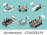 meeting white board and lcd... | Shutterstock .eps vector #1716329119