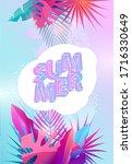 summer tropical design. floral... | Shutterstock .eps vector #1716330649