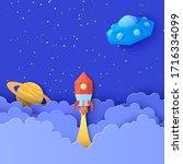 red rocket launch in space in... | Shutterstock .eps vector #1716334099