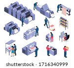 polygraphy isometric set of...   Shutterstock .eps vector #1716340999