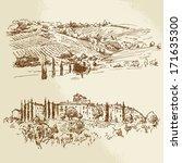 vineyard   hand drawn... | Shutterstock .eps vector #171635300