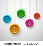 colorful sewing buttons hanging ...