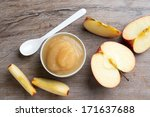 small bowl of apple puree with... | Shutterstock . vector #171637688
