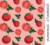 seamless hand drawn tomato... | Shutterstock .eps vector #1716386023