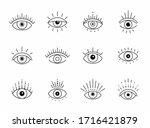 vector eye boho design. outline ... | Shutterstock .eps vector #1716421879
