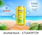 lime juice aluminium can... | Shutterstock .eps vector #1716439729
