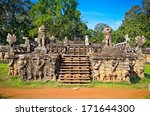 Terrace of the Elephants entrance in celestial Phimeanakas temple, Angkor Thom, near Siem Reap, Cambodia.