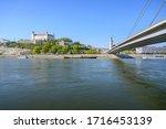 View of Bratislava castle on other bank of Danube river (Bratislava, Slovakia)