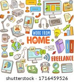 set of work from home vector... | Shutterstock .eps vector #1716459526