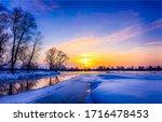 Winter Sunset River Snow...