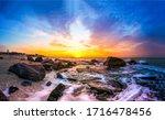 Sunset Sea Rocky Beach Landscape