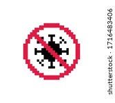 pixel art 8 bit red sign...   Shutterstock .eps vector #1716483406