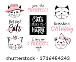 doodle cats illustration and... | Shutterstock .eps vector #1716484243