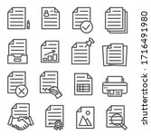documents line icons set on... | Shutterstock .eps vector #1716491980