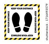 social distancing. footprint...   Shutterstock .eps vector #1716493579