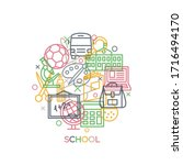 school. concept with icons and... | Shutterstock .eps vector #1716494170