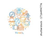 travel. concept with icons and... | Shutterstock .eps vector #1716494776