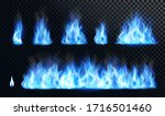 blue fire flame realistic set.... | Shutterstock .eps vector #1716501460