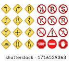 Set Of Red And Yellow Traffic...