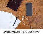 creative flat lay of phone ... | Shutterstock . vector #1716554290