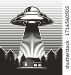 Ufo Poster Vintage. Aliens...