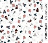 seamless natural pattern  bugs  ... | Shutterstock .eps vector #1716593629