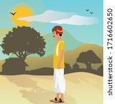 indian village man standing in... | Shutterstock .eps vector #1716602650