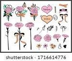 set of bouquets. teacher's day  ... | Shutterstock .eps vector #1716614776