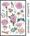 set of bouquets. teacher's day  ... | Shutterstock .eps vector #1716614779
