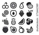 set of black flat icons about... | Shutterstock .eps vector #171661589