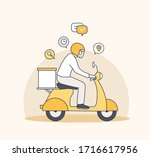 Delivery Man Riding Motorcycle  ...