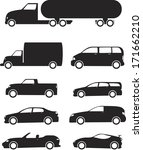isolated black vehicles icons... | Shutterstock .eps vector #171662210