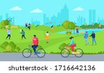 people in park  free time...   Shutterstock .eps vector #1716642136