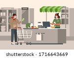 retail woman cashier wearing... | Shutterstock .eps vector #1716643669